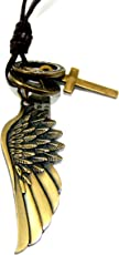 Streetsoul Angel Wing Pendant Antique Gold With Black Leather Adjustable Necklace Gift For Men.