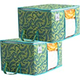 Kuber Industries Metalic Printed 2 Piece Non Woven Underbed Storage Bag,Storage Organiser,Blanket Cover with Transparent…