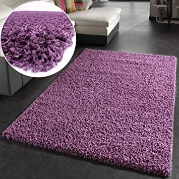 shaggy rug high pile long pile modern carpet uni violet purple cm