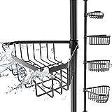 EDELHAND© teleskopowy regał prysznicowy, czarny, wysokość od 105 do 270 cm – regał teleskopowy do łazienki i prysznica z 4 ko