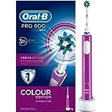 Oral-B PRO 600 CrossAction Cepillo de Dientes Eléctrico Recargable con Tecnología Braun, Edición Purple