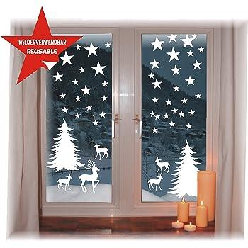 Das Label Wiederverwendbare Winterliche Fensterbilder Weiss