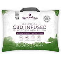 Slumberdown CBD Infused White Pillow 1 Pack Medium Support Bed Pillows Designed for Back and Side Sleepers
