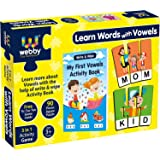 Webby Learn Words with Vowels Jigsaw Puzzle with Activity Book, 90 Pcs