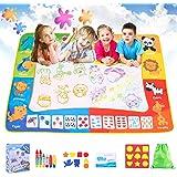 SPLAKS Acqua Doodle Tappeto, Tappeto Magico Bambini 120 *90cm, con 6 Penne Magiche,1 Set di Francobolli , 9 Stampi e 1 Libret
