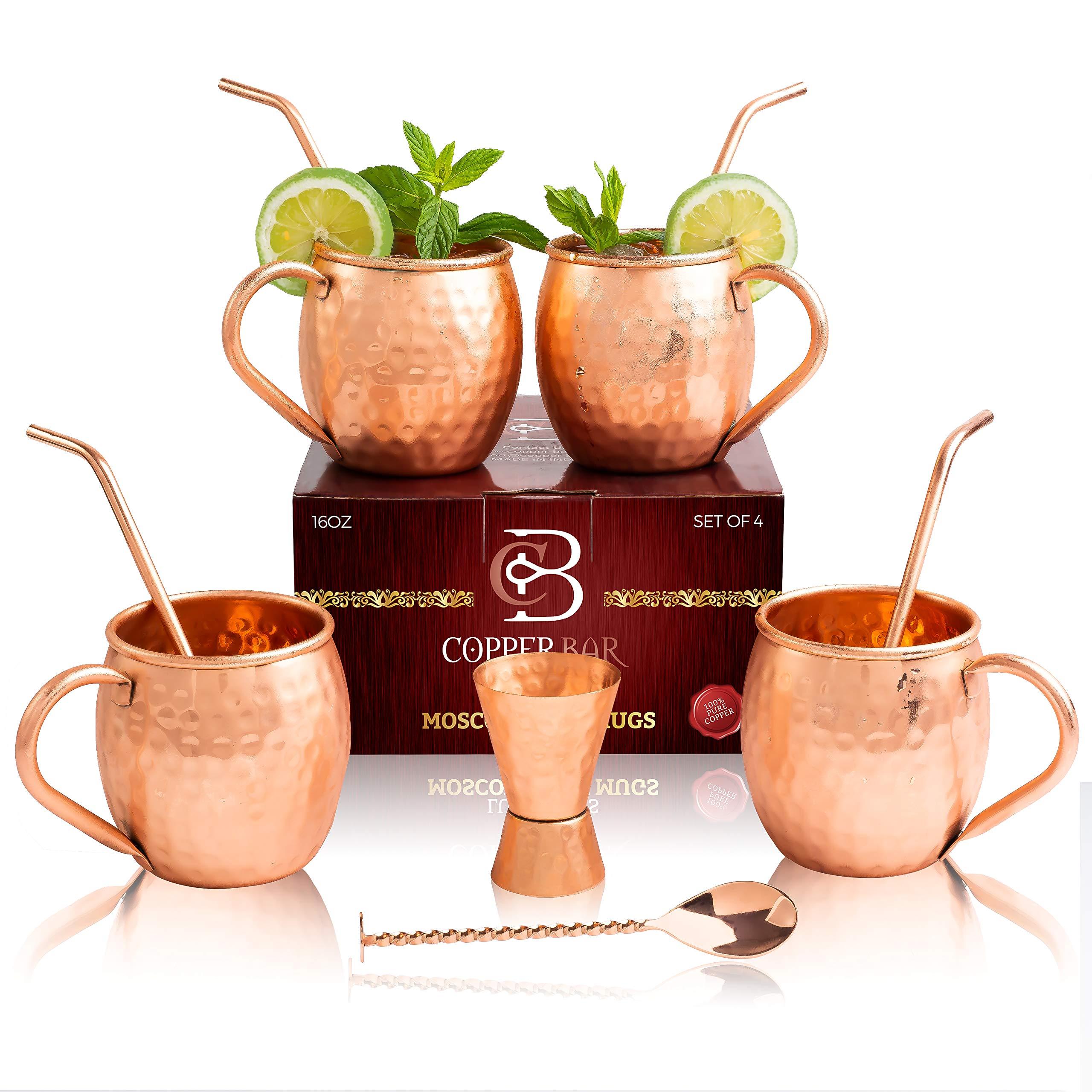 Moscow-Mule-Kupfertassen-Set-von-4-100-handgefertigt-lebensmittelecht-reines-massives-Kupfer-Tassen-4er-Set-mit-4-hochwertigen-Cocktail-Kupferhalmen-1-Messbecher-und-1-Rhrer