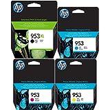 Lot de 4 cartouches d'encre HP - 953XL noir et 953 cyan, magenta et jaune - Pour imprimantes HP Officejet Pro 8210, 8218, 871