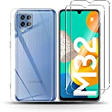 QULLOO para Samsung Galaxy M32 Funda [1Pack] + Protector de Pantalla [2 Pack],9H Dureza Film Cristal Templado Ultra Fina Sili