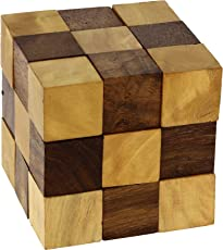 ShalinIndia Wooden Puzzle Adult Snake Cube Handmade Gifts (Brown)