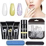Lictin Kit Uñas de Gel-3 Colores Kit Poly Gel para Uñas, Kit Gel de Extensión de Uñas con 3 * 15ml Extension Glue, 40pcs de U