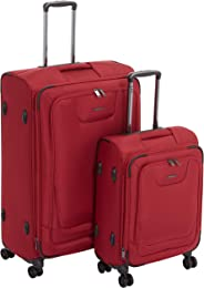 AmazonBasics - Premium-Weichschalen-Trolley mit TSA-Schloss, erweiterbar, 2-teiliges Set à (53 cm, 74 cm), Rot