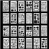 NIAGUOJI 24 Stks Schilderen Stencil Set, Bullet Journal Accessoires, Plastic Planner Template, Stencils Letters en Nummers, v