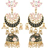 I Jewels 18K Gold Plated Traditional Floral Kundan Studded Black Meenakari Jhumka Earrings For Women (E2912)