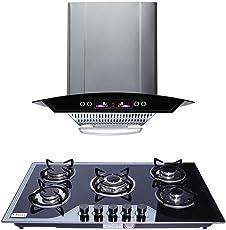 Seavy Altis 1100 M3/H Hood Chimney 60Cm + 5 Burner Hob Gas Stove