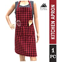 Pixel Home Cotton Apron 100% Cotton Check Kitchen Apron with Front Center Pocket Best Design Apron (Red Checked)