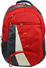 Shaina Bags Nylon 25 Ltr Red & Grey Laptop Backpack
