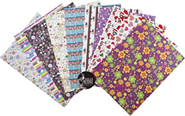 Asian Hobby Crafts A4 Printed Sheets 50GSM, 10 Designs - Pack of 50