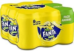Fanta Limón - Refresco con 6 % de zumo de limón, bajo en calorías - Paquete de 9 latas, 330 ml