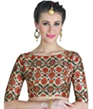 STUDIO Shringaar Women's Digital Printed Multi-Colour Saree Blouse with Boat Neck (with Complimentary Mask)