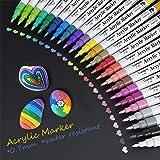 Stylos de Peinture, Baozun 24 Couleurs Peinture Acryliques Stylos 0.7 mm Pointe Premium Etanche Feutres Permanents Couleur po