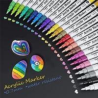 Stylos de Peinture, Baozun 24 Couleurs Peinture Acryliques Stylos 0.7 mm Pointe Premium Etanche Feutres Permanents…