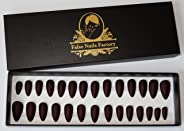 False Nails Factory - Matte False Nails (red burgundy) - full cover fake nail tip fashion for women and girls