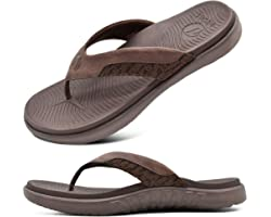 ONCAI Mens Flip Flops Comfort Beach Sport Athletic Soft Thong Sandals with Yoga Foam Arch Support Size 6-12