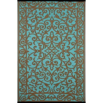 Green Decore Gala Indoor Outdoor/Light Weight/Reversible/Polypropylene Plastic Rug (120 x 180 cm, Blue Turquoise/Gold)