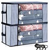 ARVANA Blanket Cover Storage Organizer Bags for Underbed Storage with Side Handles, Grey, 58 x 38 x 25 cm - Set of 2…