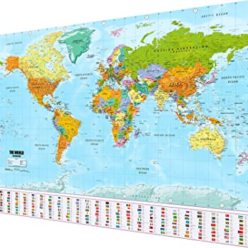 Large World Map Amazon.Large World Map Xxl Poster With Flags And Banners Top Quality