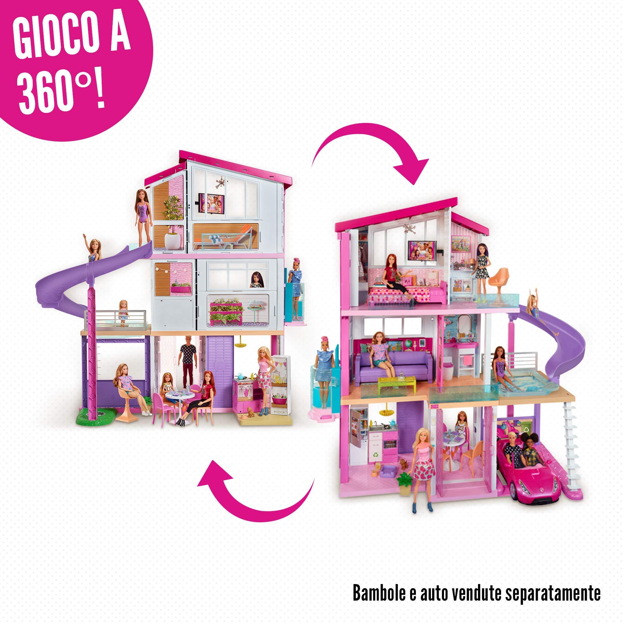 Barbie Casa dei Sogni per Bambole con 8 Stanze, Garage, Scivolo