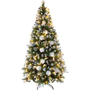 mr crimbo 7ft luxury pre lit decorated artificial christmas tree led lights frosted tips