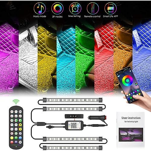 Pulilang LED Auto Interni Striscia Led Auto Luci Interne   Colorati RGB Sync to Music  APP  Telecomando   Ambiente Striscie Luce Kit per Interni Macchina   Spina Accendisigari 12V