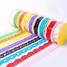 PINDIA Lace Tape Embroidery Handcraft Adhesive Roll, 2cm (Multicolour) - Set of 6