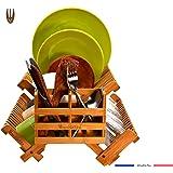 Wooglaste® - Égouttoir à Vaisselle - en Bois de Bambou - 4 Supports de Rangement - 1 Niveau Supérieur Plus 2 Niveaux…