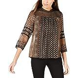 Lucky Brand | Printed Sheer-Sleeve Top | Black Multi