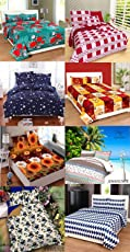 Star Bazaar Combo of Glace Cotton Double Bedsheet Set of 8– Double Bed Size, Multicolour
