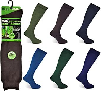 Mens Wellington Boot Socks Plain Welly Wellies Boots Warm Long Liners Easy Grip Long Hose Length Cushioned Sole