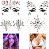 KATOOM 4 Pack Elf Face Gems borst Strass Tijdelijke Tattoo Stickers zelfklevend Glitter Zeemeermin Lichaamskristallen Sticker