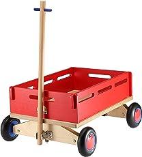 BIKESTAR Original Kleiner Kinder Spielzeug Holz Bollerwagen Transportwagen Handwagen mit Gummibereifung ★ Natur Holz Edition ★ Erdbeeren Rot