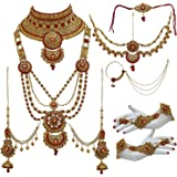 Lucky Jewellery Bridal Dulhan Alloy Gold Plated Jewellery Set for Girls & Women
