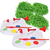 com-four® Juego de decoración de Pascua de 6 Piezas con máquina para Pintar Huevos y Pasto de Pascua (6 Piezas - Set de Pintu
