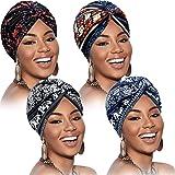 4 Pezzi Cappello Turbante per Donna Annodato Berretto Turbante Pieghettato alla Moda Morbido Beanie Copricapo Cappello da Son