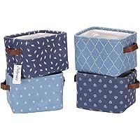Hinwo 4L Taille mini Chambre d'enfant Panier de rangement pliable carré Denim Tissu Boîte de rangement Container…