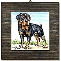 Rottweiler- Quadro con Mattonella in Ceramica Handmade Collezione Gadget Cani Gatti Regalo Amanti degli Animali cm 16x16…