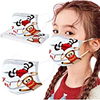 Longra 10 Stück Weihnachtsmaske Mundschutz Einweg Kinder Mundschutz Weihnachtsmotiv Mund und Nasenschutz Halstuch Maske…