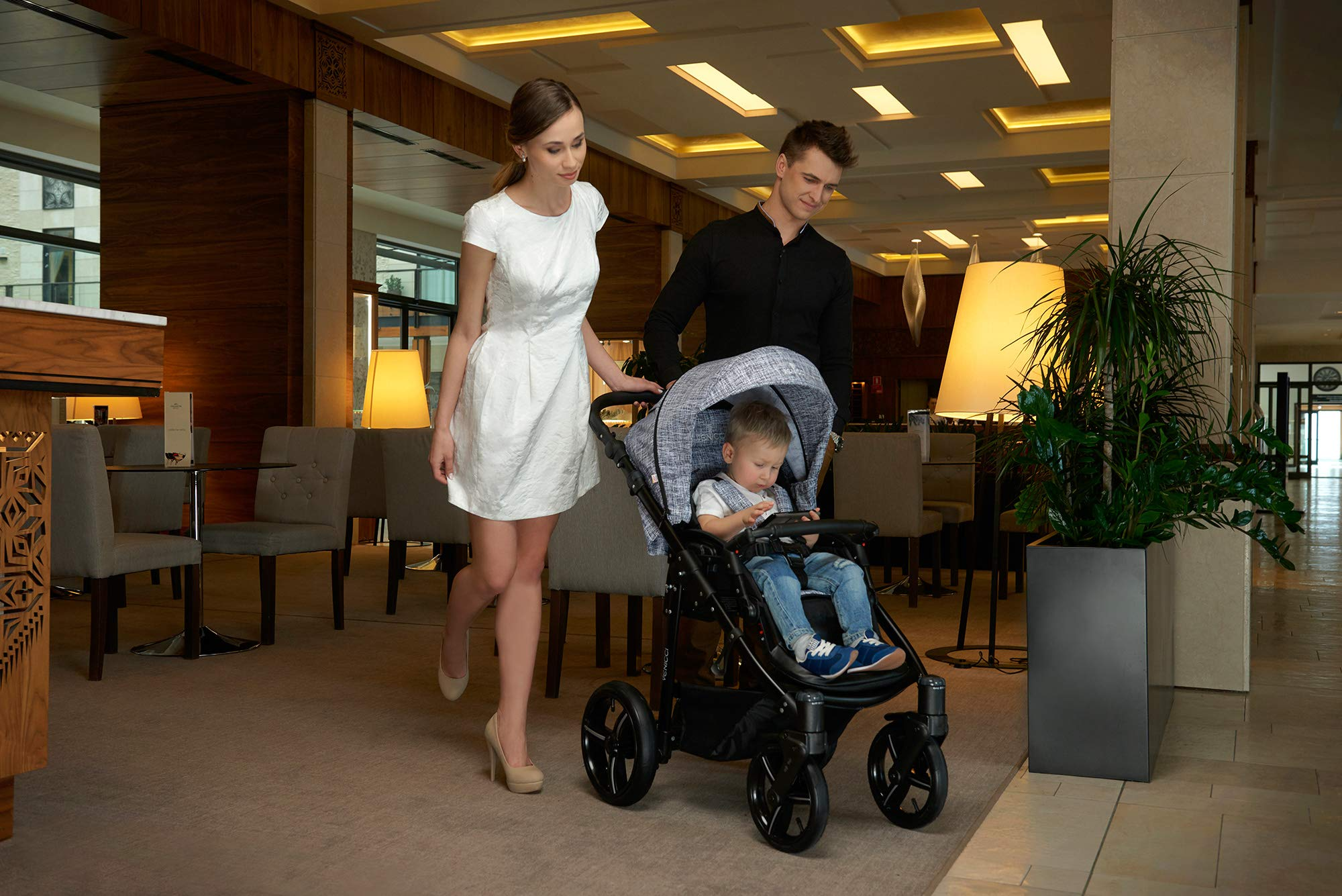 Venicci Shadow 2-in-1 - Fashion Black Travel System Venicci Also includes: Changing bag, Apron, Rain cover, Mosquito Net, Cup holder Carrycot: L 102cm W 61cm H 112 cm Age suitability: From birth to 6 months Seat unit: L 95cm W 61cm H 112cm Age suitability: From 7 to 36 months 4