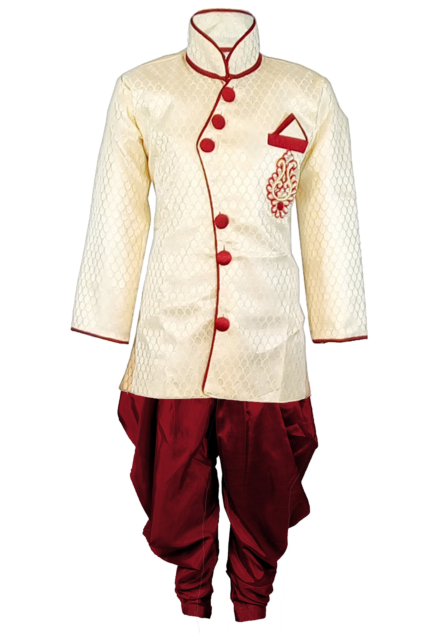 ed9751cbf JBN Creation Boys Cotton Silk Sherwani Suit With Patiala Style Cowl ...