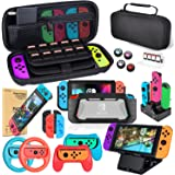 Kit de Accesorios 18 en 1para Nintendo Switch, con Protector de Pantalla, Soporte para Juegos, Tapa del Interruptor, Tapa del