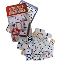 Toyshine Double 6 Color Dot Dominoes Game Set, Classic 28 Pieces in Tin Case, Match and Fun Game